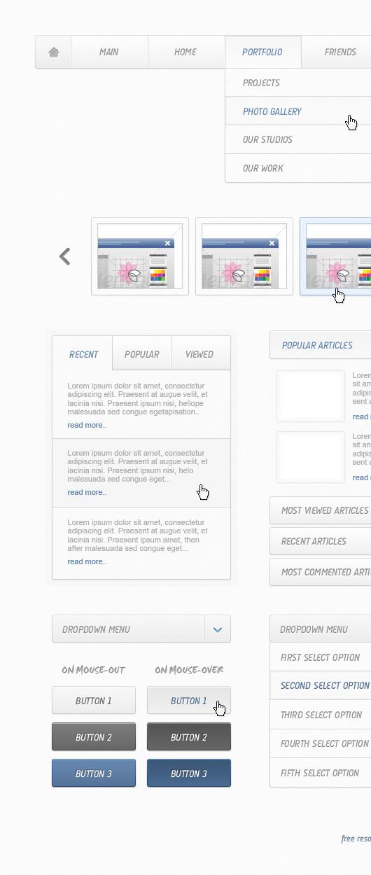 Clean Web Elements Kit (PSD)