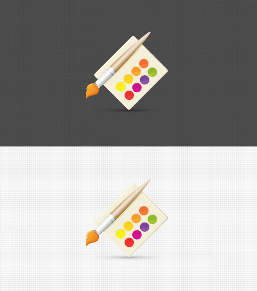 Sexy Watercolor &amp; Paint Brush Icon Illustration (Vector)