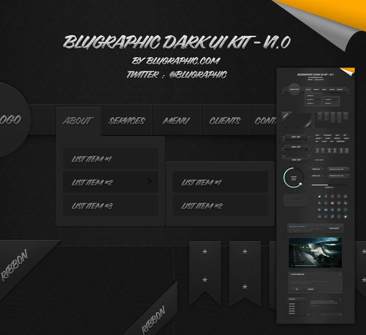 Blugraphic Dark Ui Kit V1.0 (Psd)