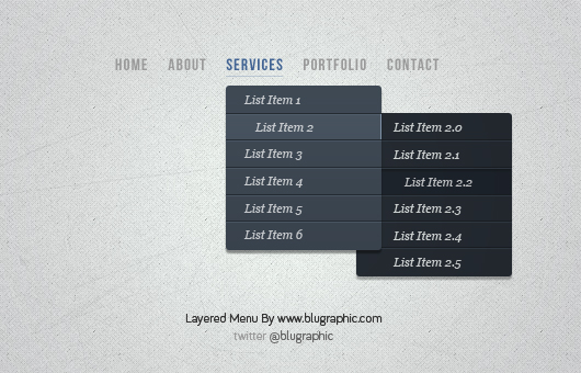 Layered Drop Down Menu (Psd)