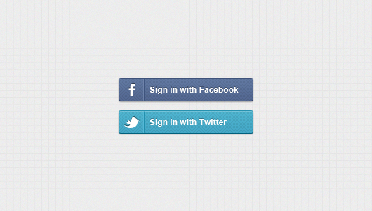 Sign in With Facebook / Twitter Buttons (Psd)