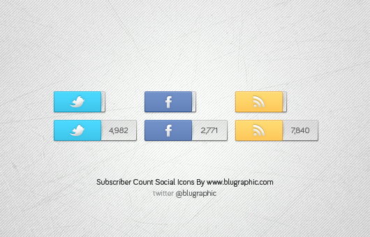 Facebook, Twitter &amp; Rss Count Icons (Psd)