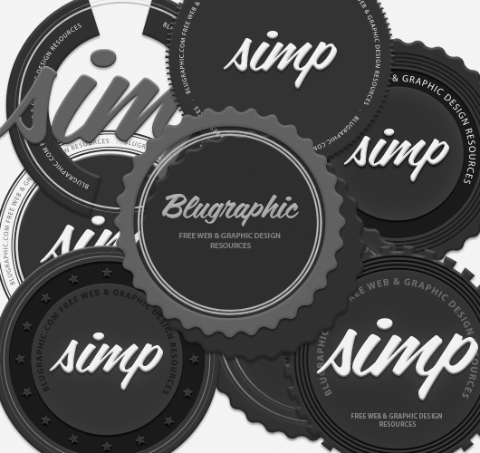 8 Circle Vintage Psd Badges (Vector / Psd)