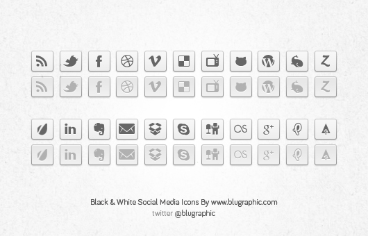 Black &amp; White Social Network Buttons (Psd)