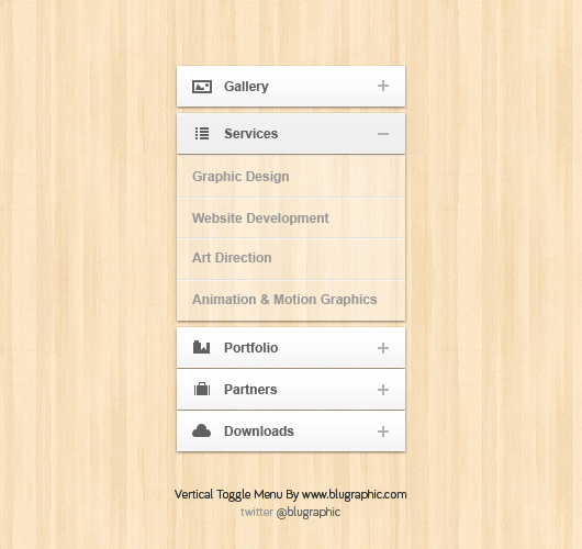 Vertical Toggle Accordion Menu (Psd)
