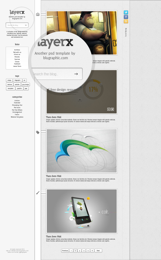 Layerx Blogger Website Theme Template (Psd)
