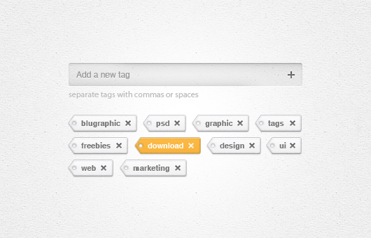 tags add remove widget psd