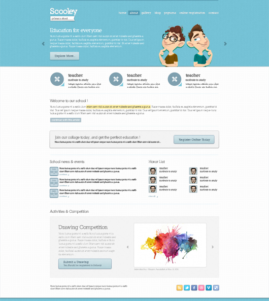 Schooly Website Theme - Psd