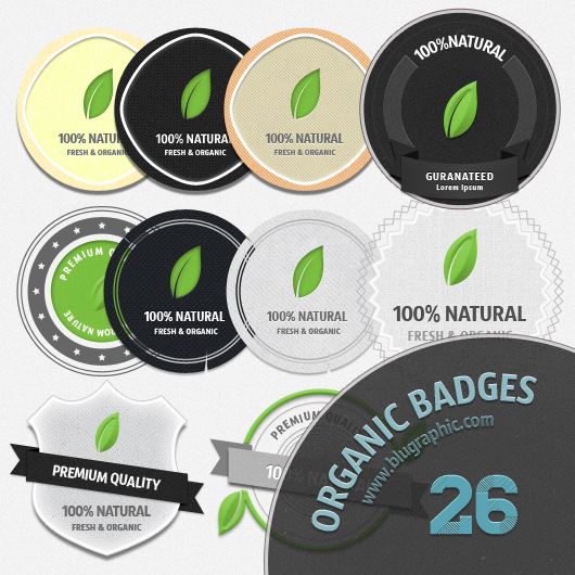 Fresh Organic Badges (PSD)