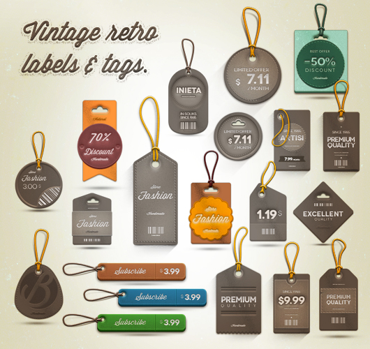 Vintage Retro Labels (Psd)