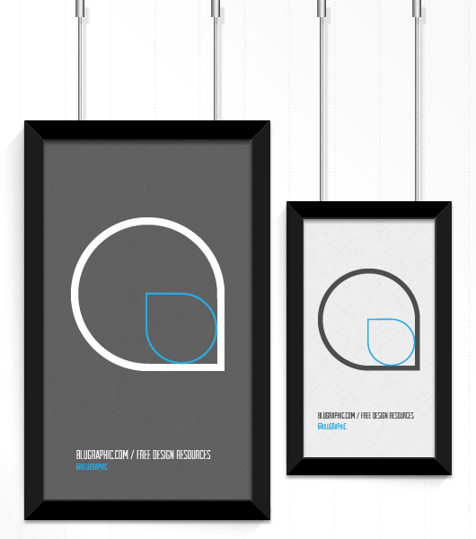 Pendent Poster Frame Mockup - Psd /Vector
