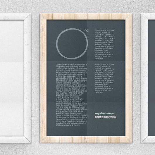 Wood Poster Frame Mockup - Psd / Vector