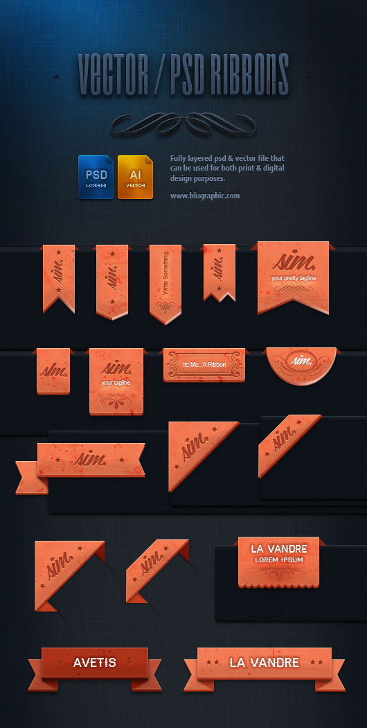 Psd Retro Vintage Ribbons