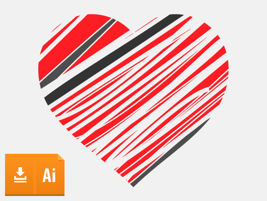 Scratched Vector Heart (Ai, Eps)
