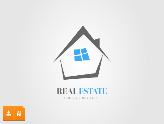 Cartoon house real estate logo