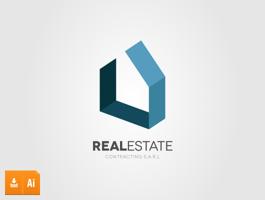 3d real estate vector logo