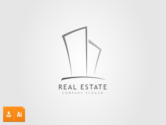Drawing real estate building vector logo