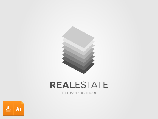 Layers real estate vector logo building