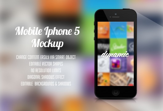 Black Iphone 5 Mockup Template (Psd)