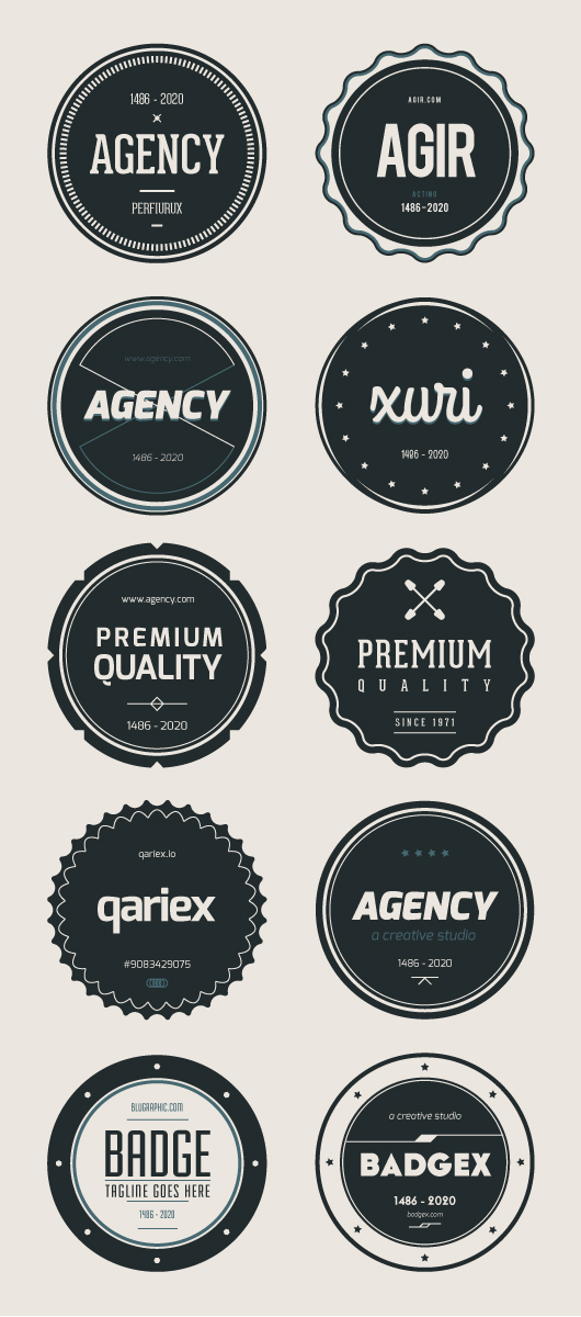 Flat psd Badges V01