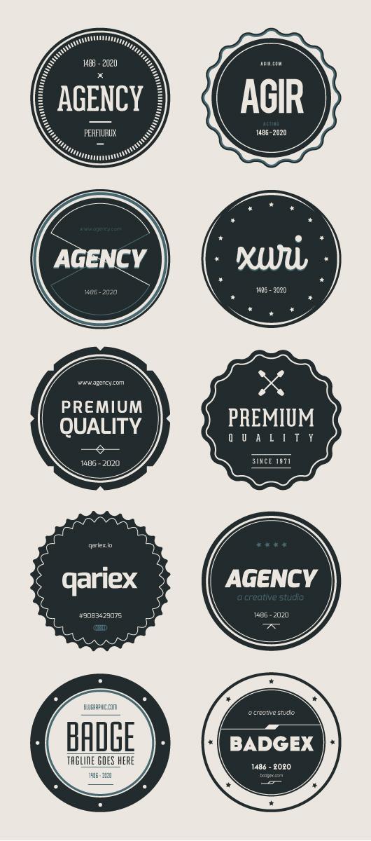 Flat psd Badges V01