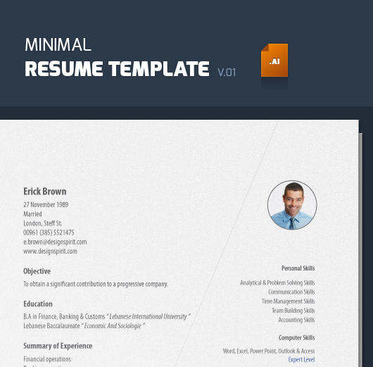 Minimal Resume Template ( Vector, Ai ) - thumb