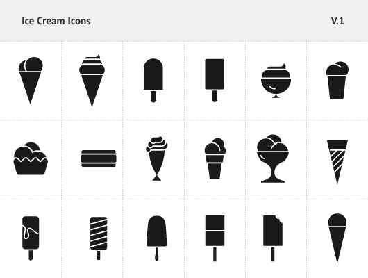 Filled Ice Cream Icons Vector psd