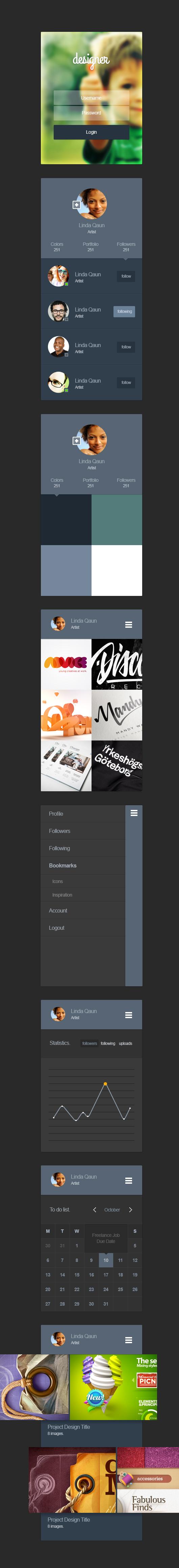 Portfolio App Design Ui Kit Psd
