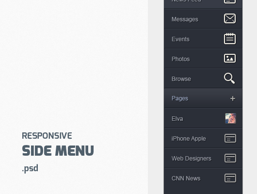 Responsive Side Toggle Menu (Psd)