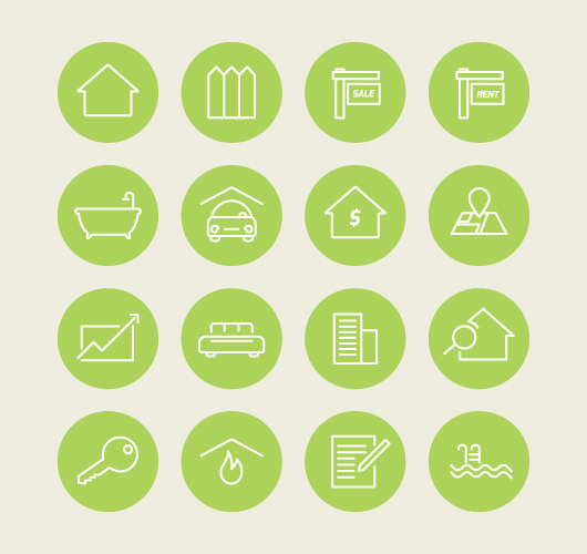 Rounded Vector Real Estate Icons (Ai)
