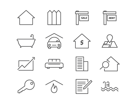 Real Estate Icon : Real estate icons vector