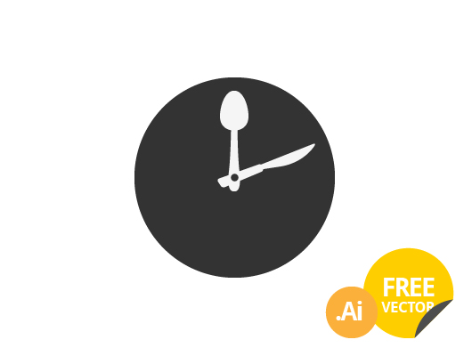 Food Clock Icon (Vector)