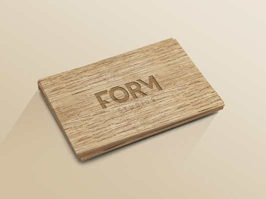 Wood Business Card Mockup
