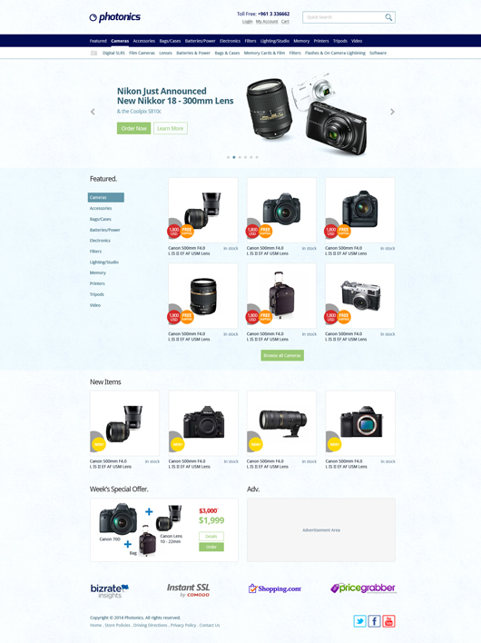 E-commerce Camera Store Website Template (Psd)