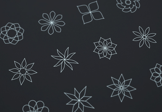 Abstract Line Flower Icons (Vector)
