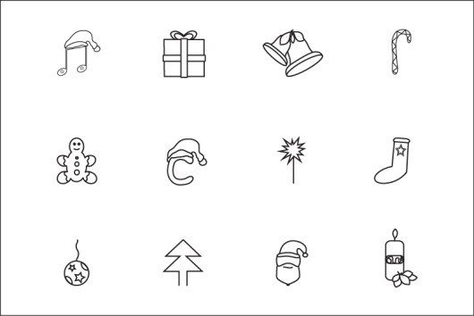 Vector Line Christmas Icons