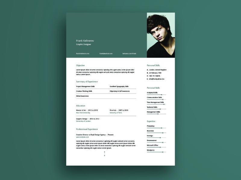 Minimal Resume Template V Illustrator