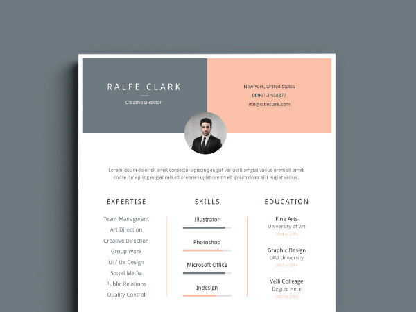 minimal resume template v 01  illustrator