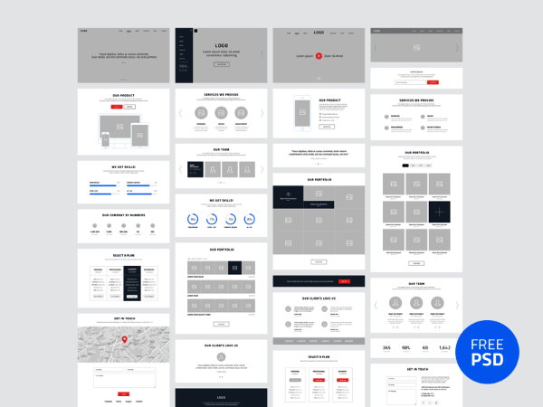 wireframes psd kit
