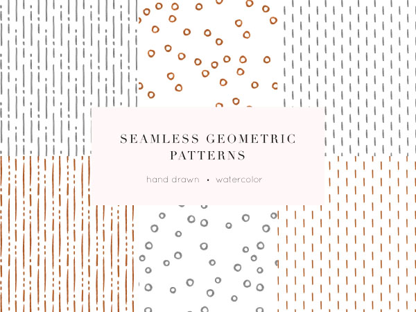 6 geometric patterns with hand-painted watercolor elements