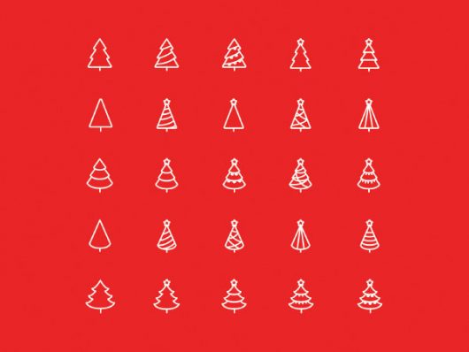 25 Cute Christmas Tree Vector Icons
