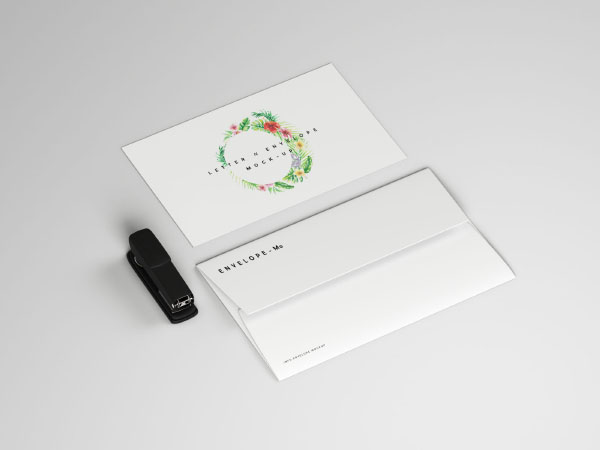 Letter With Envelope Mockup PSD