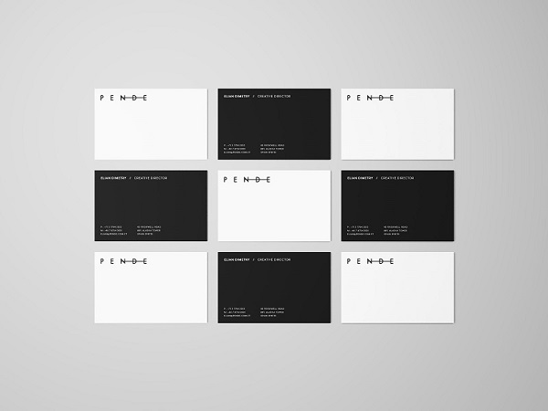 Overhead Business Cards Mockup