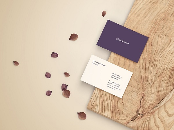 Free Business Card Mockup – Front and Back