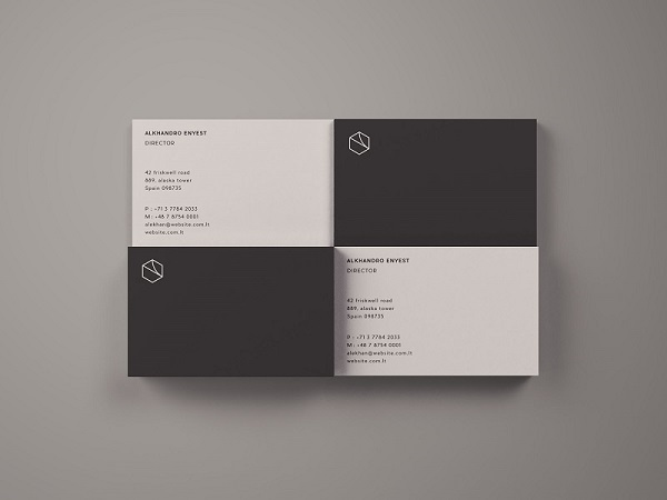 Free Business Card Mockup – Top View