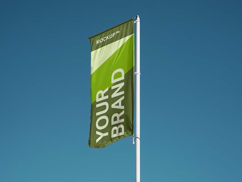 Free Vertical Flag Mockup Free Download